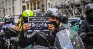 repartidores de delivery protestan por Ley Rider